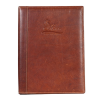 Tan leather A4 menu cover with a debosssed logo