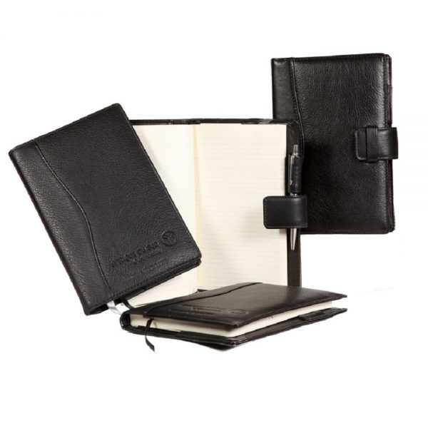 A5 Black Leather Journal Covers closed and open group image