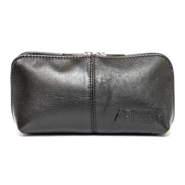 black leather makeup bag front view