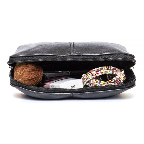 black leather makeup bag open zip view