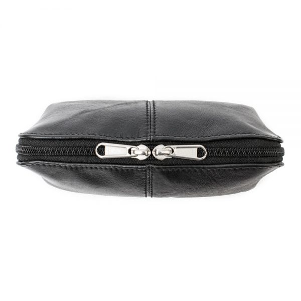 black leather makeup bag top zip view