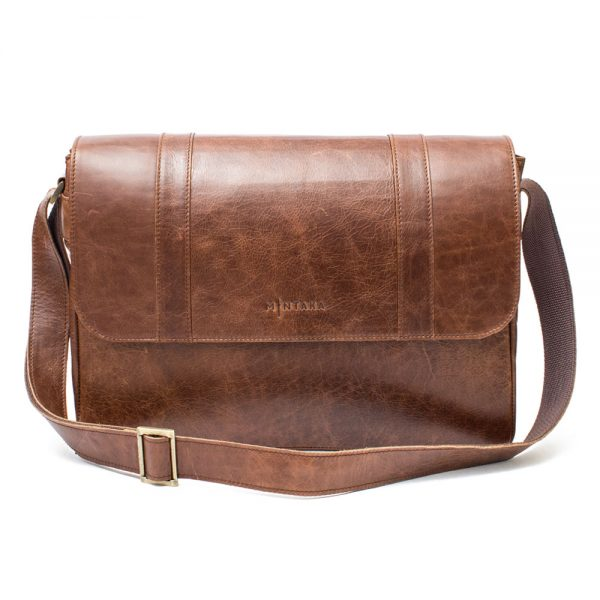 Leather Laptop Satchel Bag- Distressed brown leather front view of the bag with shoulder sling