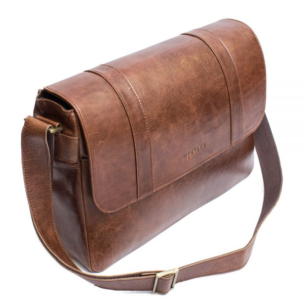 Leather Laptop Satchel Bag- Distressed brown leather side view of the bag with shoulder sling