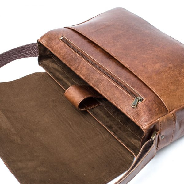 Leather Laptop Satchel Bag- Distressed brown leather, open view showing the innerof the bag with shoulder sling