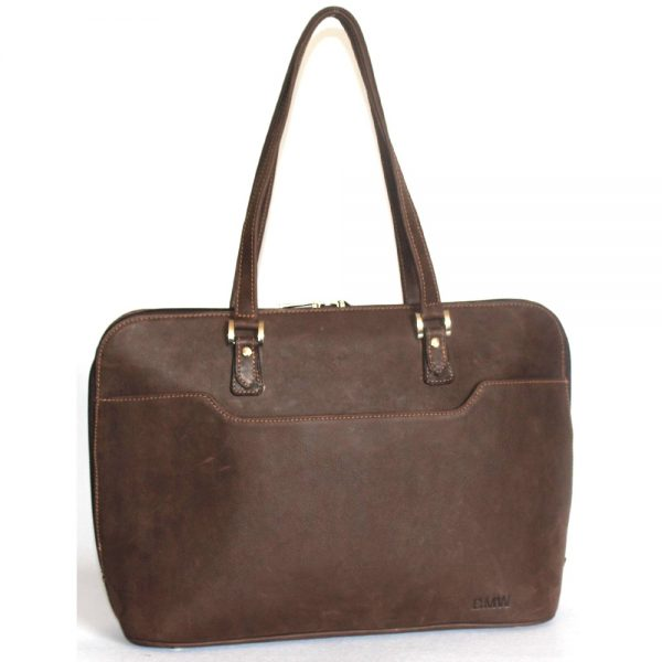 Domed zip top ladies leather ;aptop bag. In a ditressed brown leather with two carry handles front view with a pocket