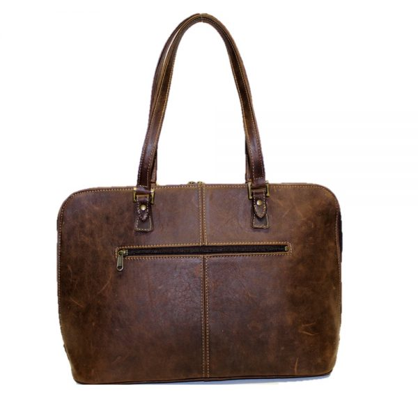 Domed zip top ladies leather ;aptop bag. In a ditressed brown leather with two carry handles back view with a zip pocket