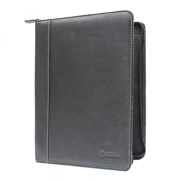 A4 Zip Around black leather folder debosed bottom right half open view with a back spine on the left V3094 Tango