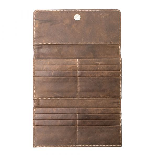 Brown leather purse open